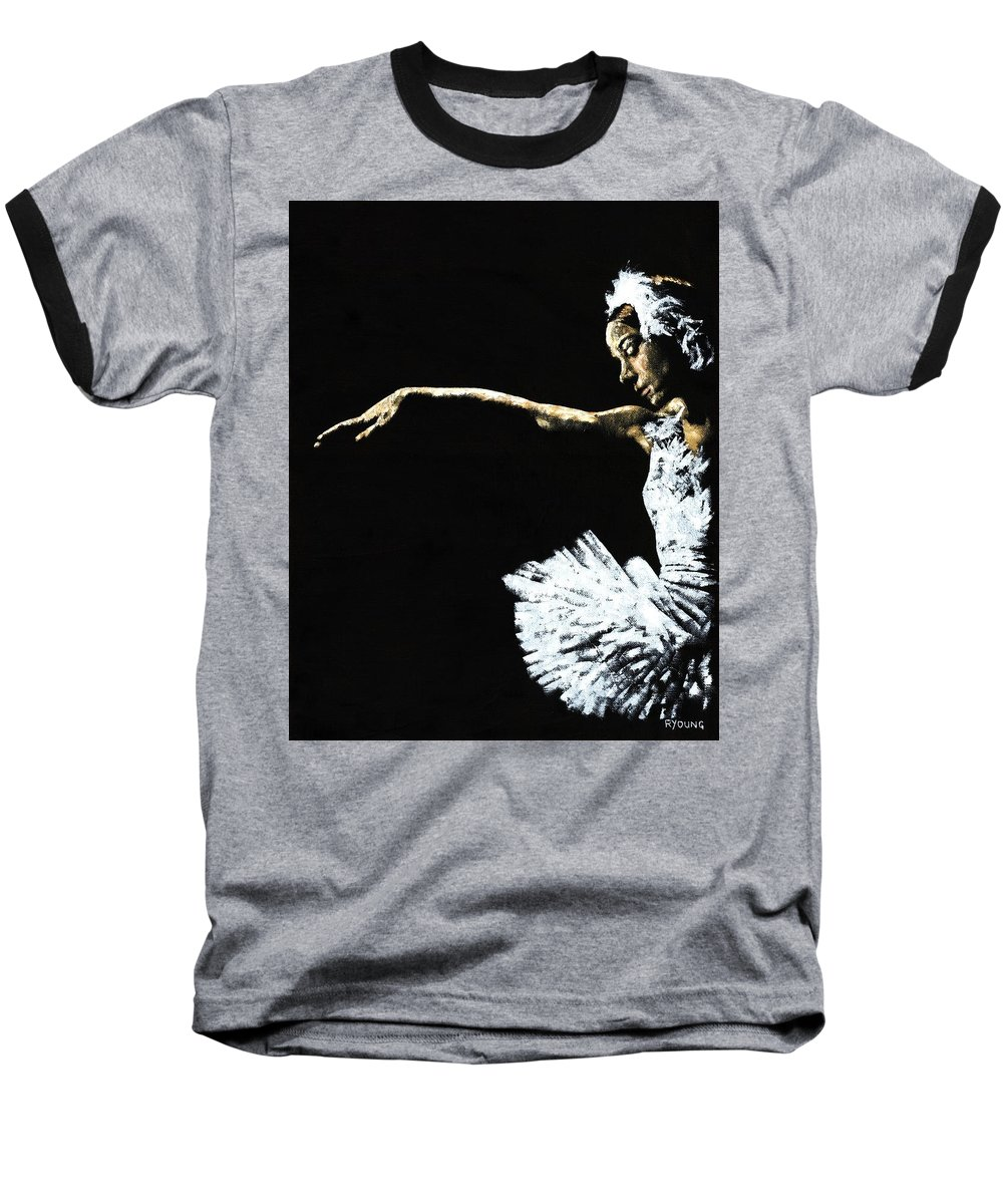 Ballet Baseball T-Shirt featuring the painting The Art Of Grace by Richard Young