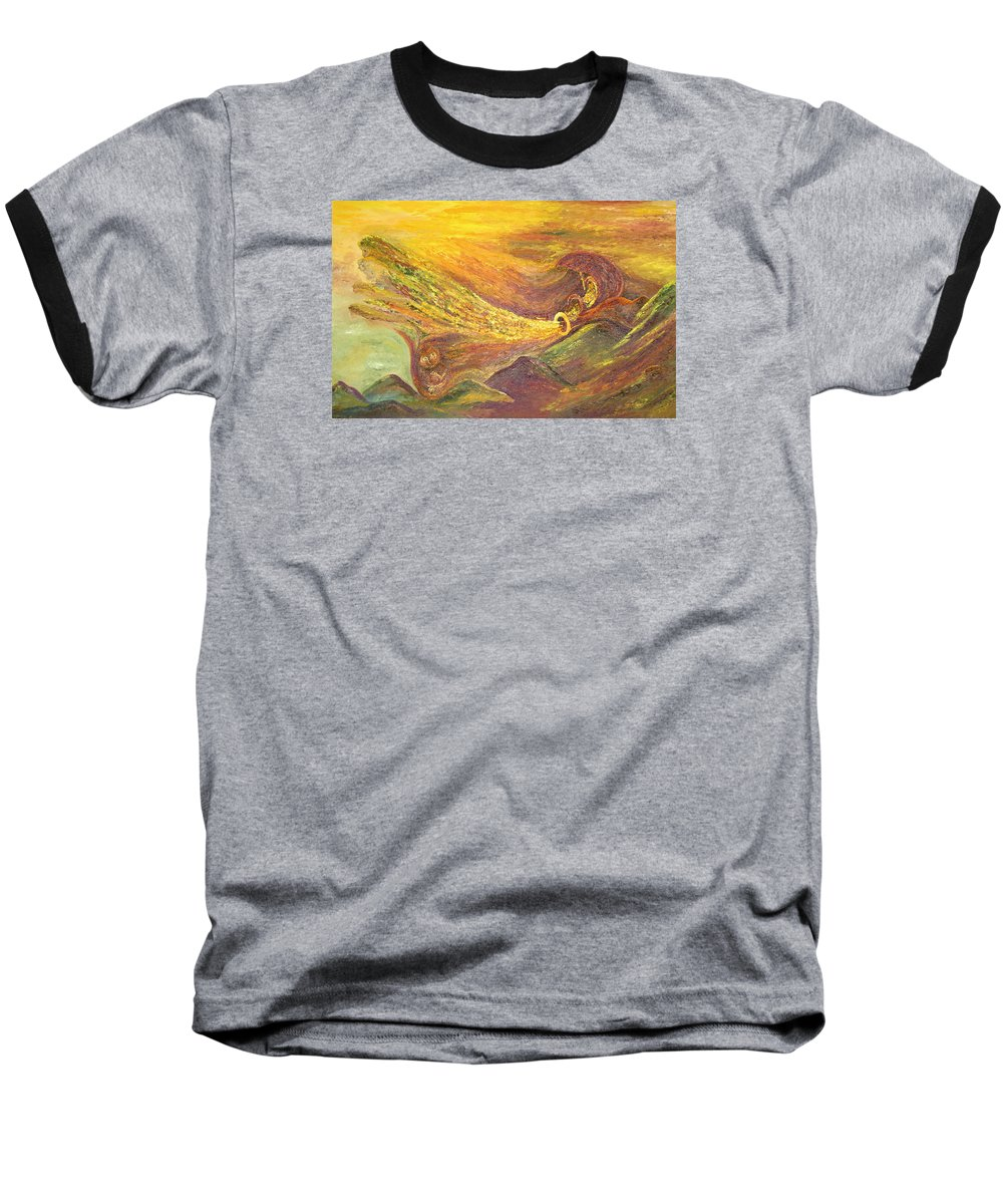 Autumn Baseball T-Shirt featuring the painting The Autumn Music Wind by Karina Ishkhanova
