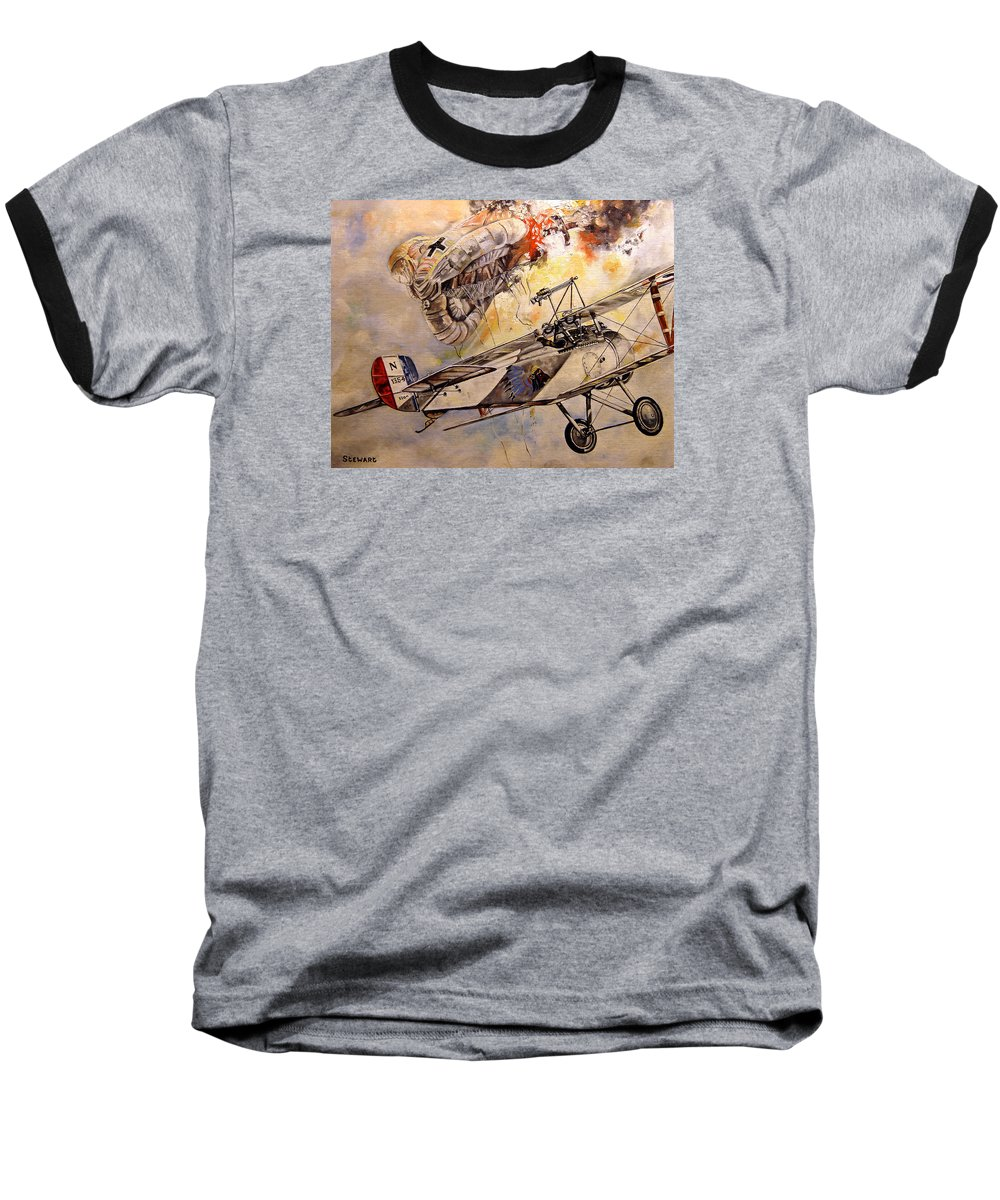 Military Baseball T-Shirt featuring the painting The Balloon Buster by Marc Stewart