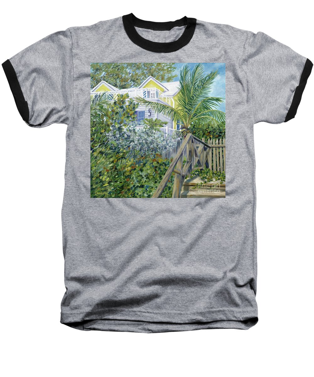 Beach House Baseball T-Shirt featuring the painting The Beach House by Danielle Perry