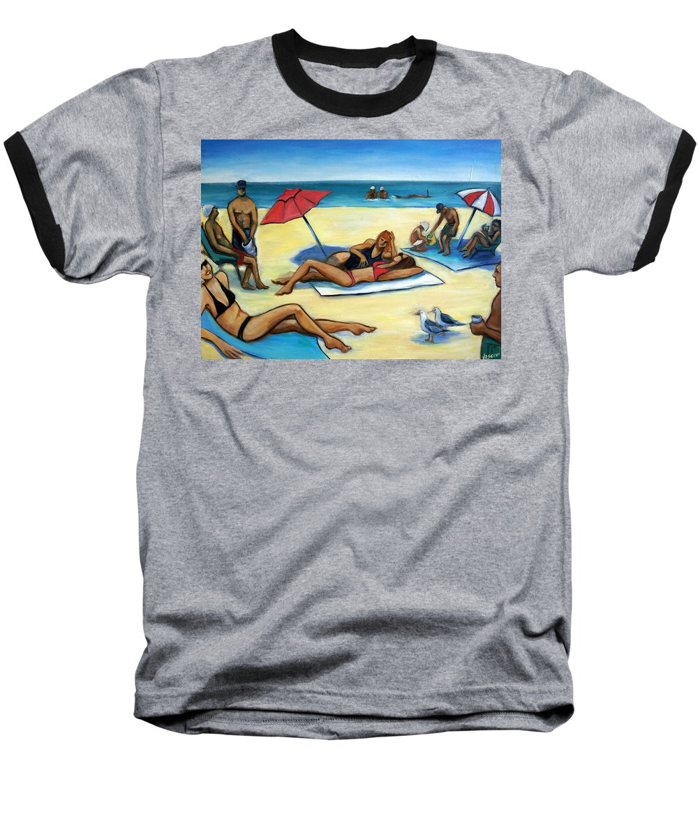 Beach Scene Baseball T-Shirt featuring the painting The Beach by Valerie Vescovi