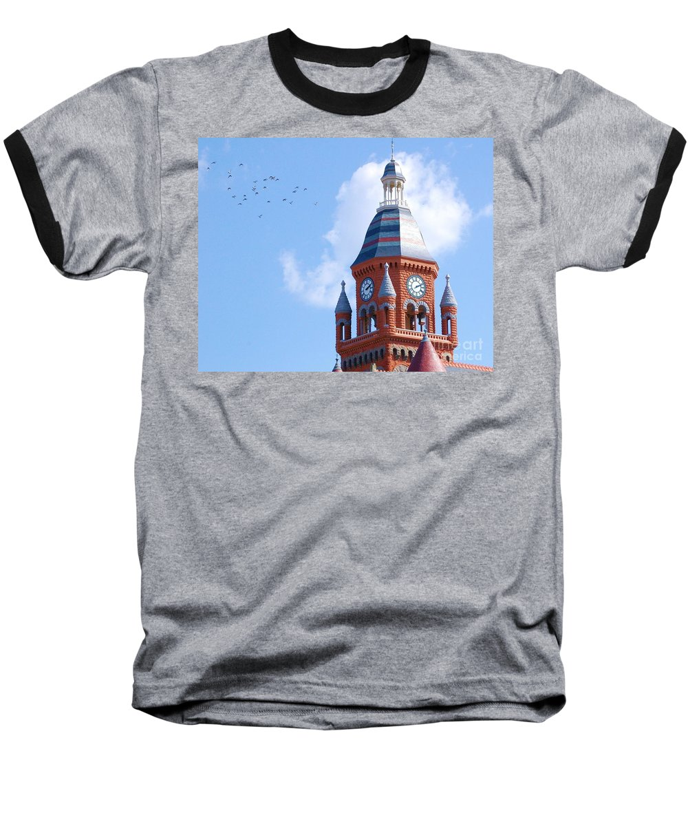 Clock Baseball T-Shirt featuring the photograph The Birds by Debbi Granruth