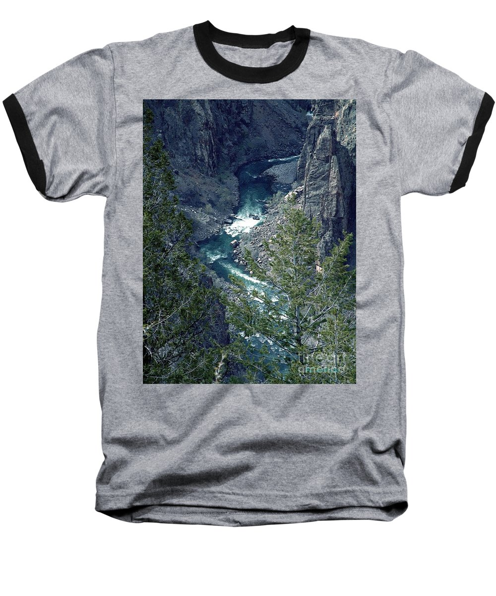 Canyon Baseball T-Shirt featuring the painting The Black Canyon Of The Gunnison by RC DeWinter