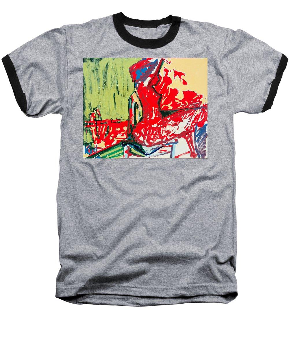 Woman Baseball T-Shirt featuring the painting The Blue Chair by Kurt Hausmann
