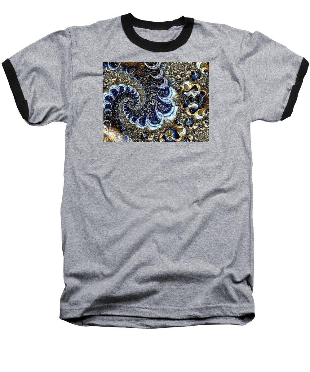 Fractal Diamonds Blue Jewel Dance River Baseball T-Shirt featuring the digital art The Blue Diamonds by Veronica Jackson