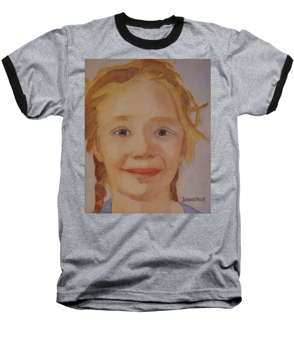 Partrait Baseball T-Shirt featuring the painting The Blue-eyed Duckling by Jenny Armitage