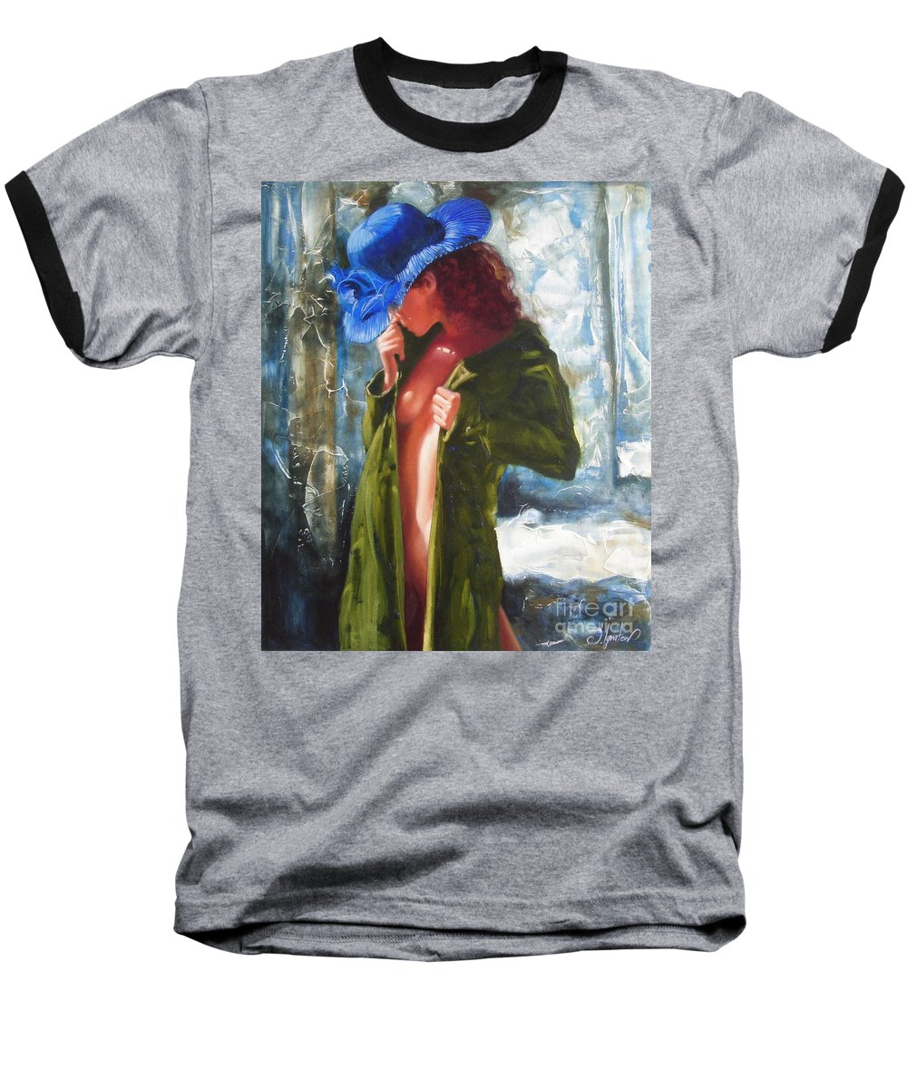 Art Baseball T-Shirt featuring the painting The Blue Hat by Sergey Ignatenko