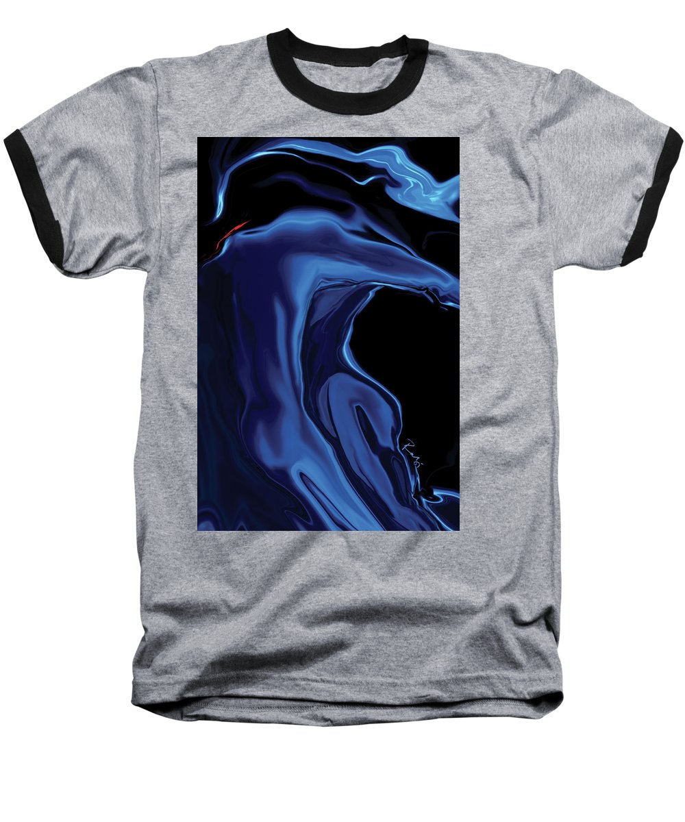 Abstract Baseball T-Shirt featuring the digital art The Blue Kiss by Rabi Khan