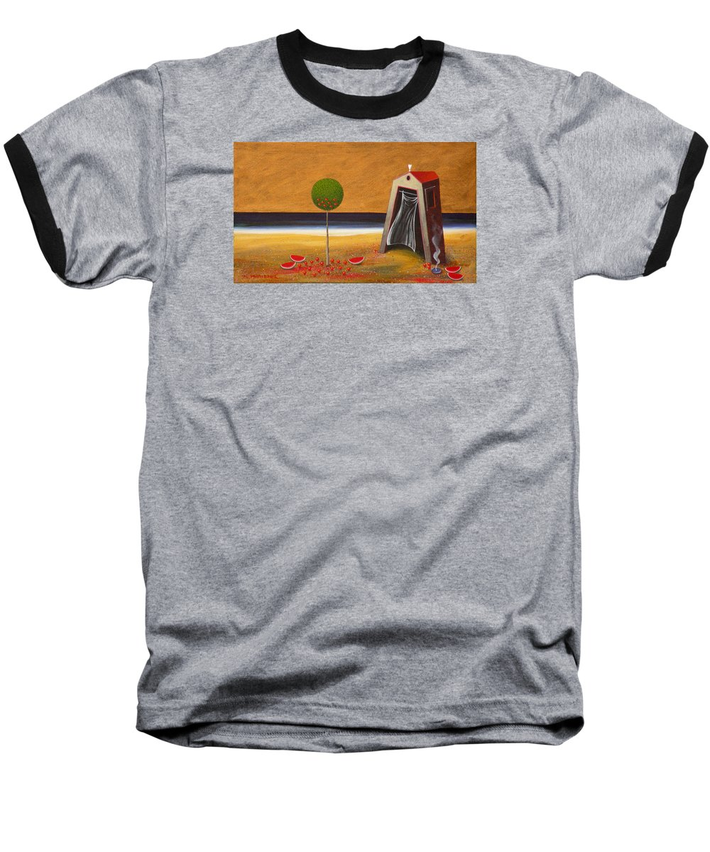 Astronomy Baseball T-Shirt featuring the painting the Buff House by Dimitris Milionis