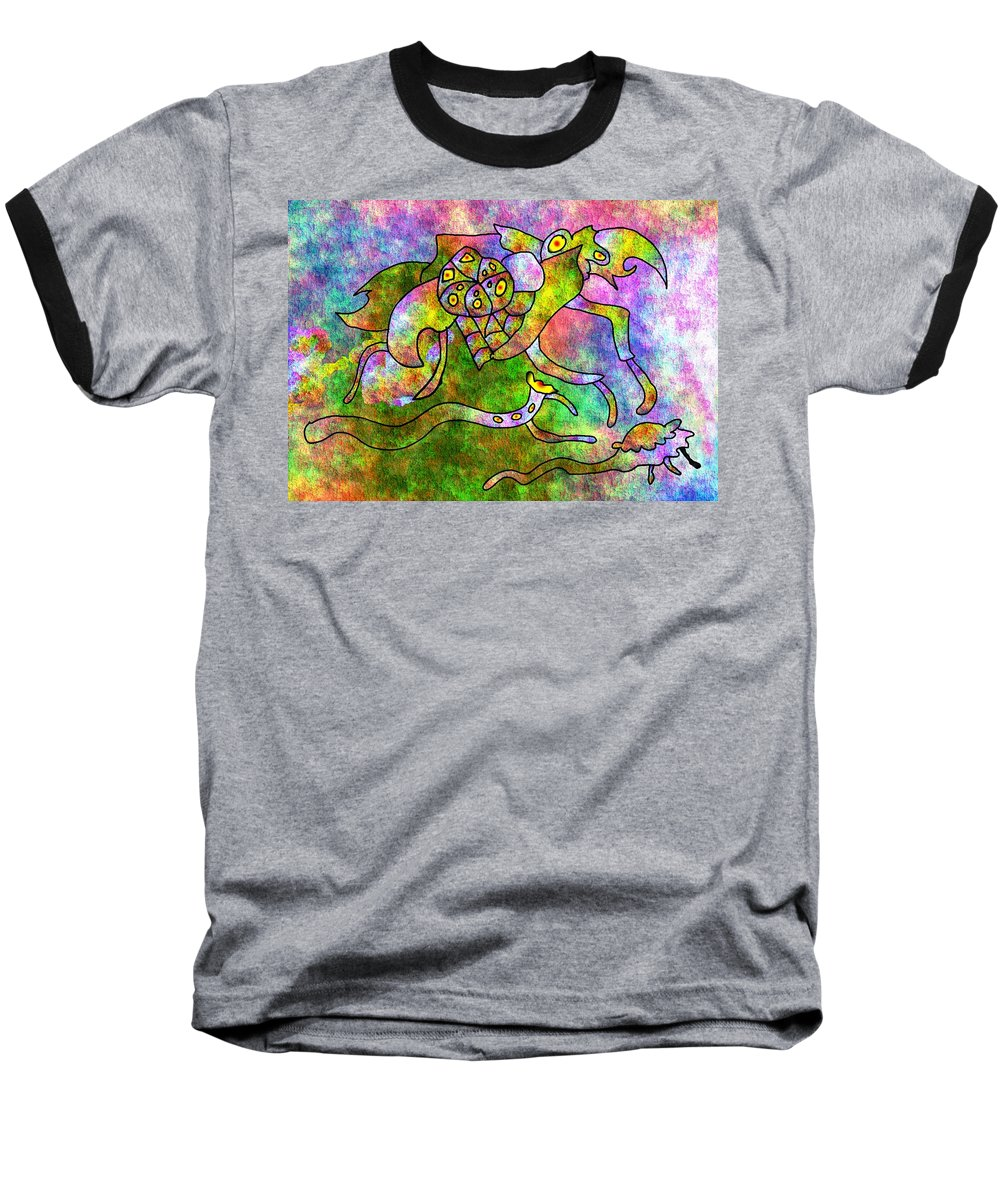 Bugs Color Texture Abstract Fun Baseball T-Shirt featuring the digital art The Bugs by Veronica Jackson