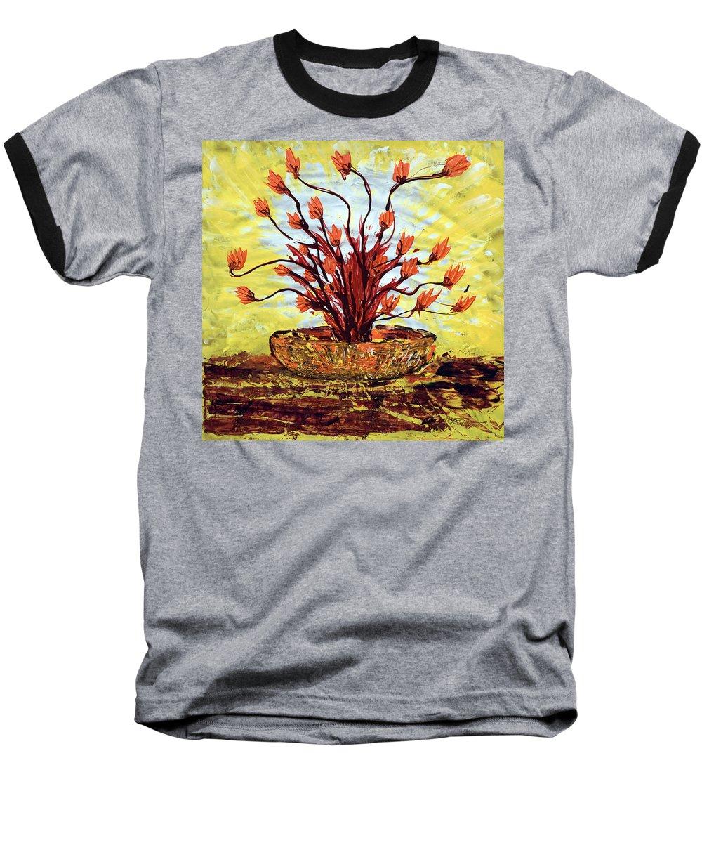 Red Bush Baseball T-Shirt featuring the painting The Burning Bush by J R Seymour