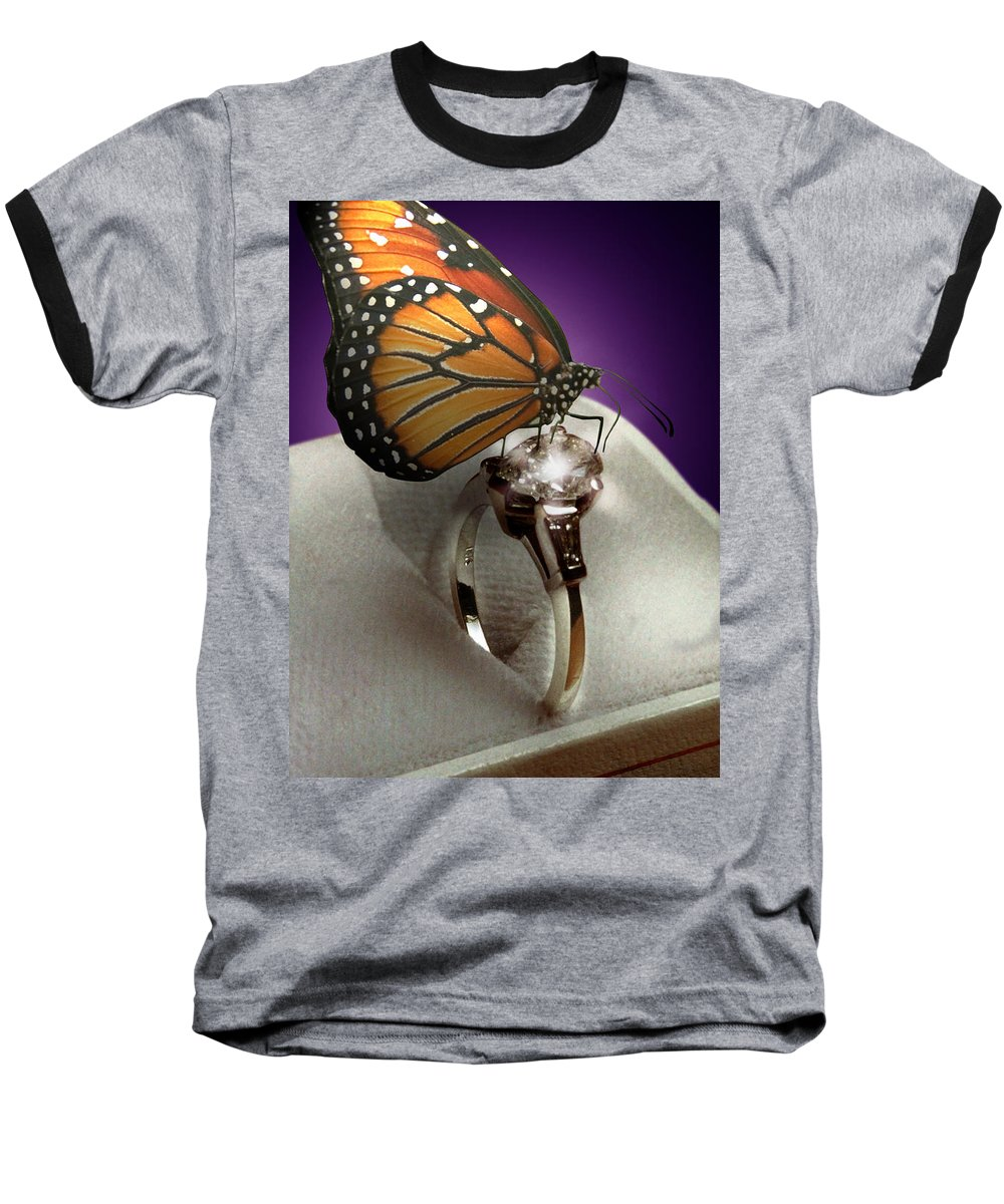 Fantasy Baseball T-Shirt featuring the photograph The Butterfly And The Engagement Ring by Yuri Lev
