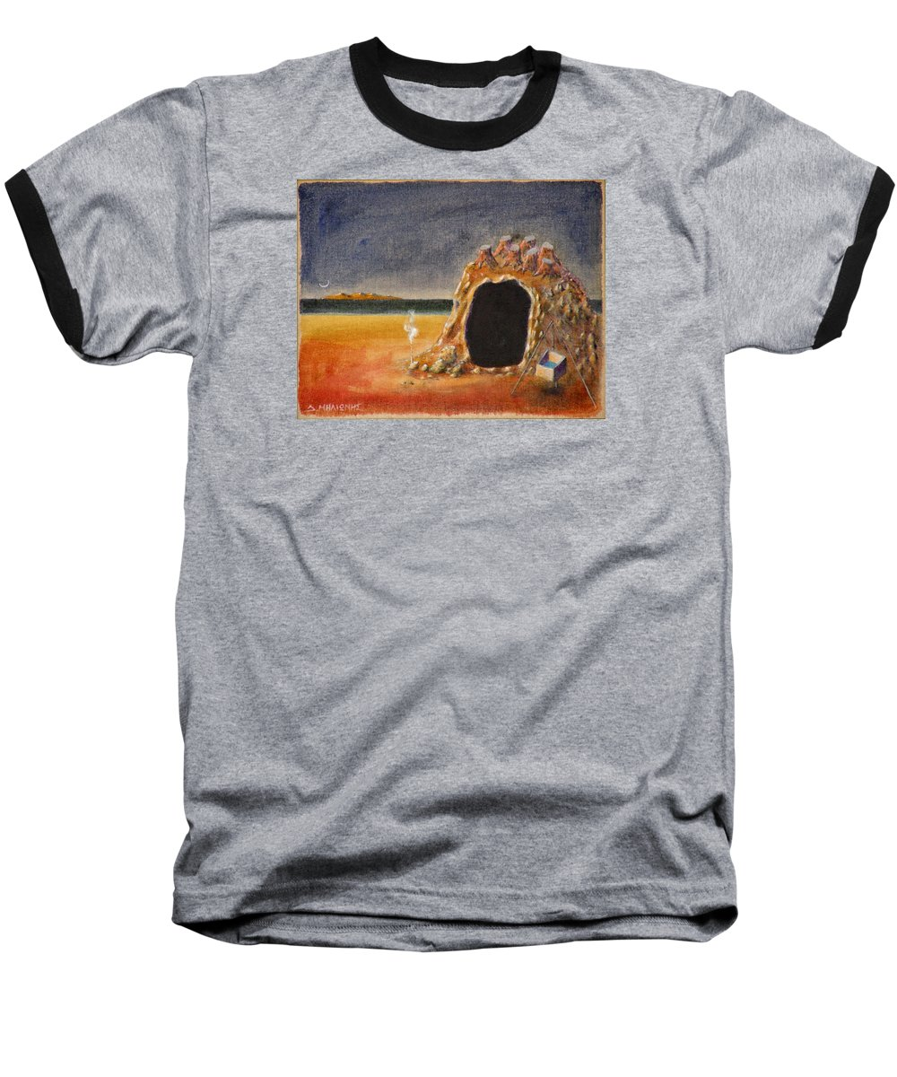 Metaphysacal Baseball T-Shirt featuring the painting The Cave Of Orpheas by Dimitris Milionis