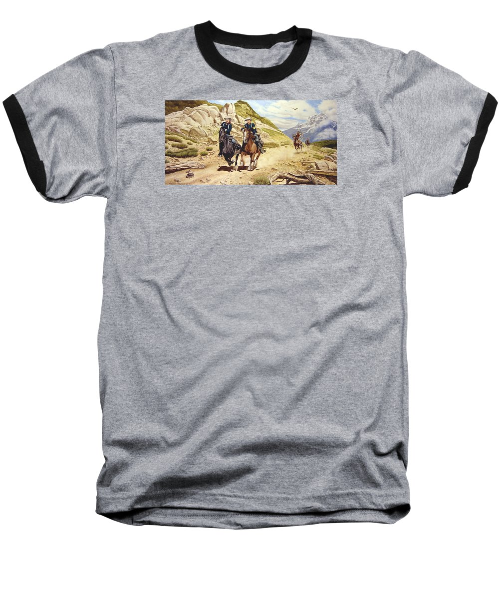 Western Baseball T-Shirt featuring the painting The Chase by Marc Stewart