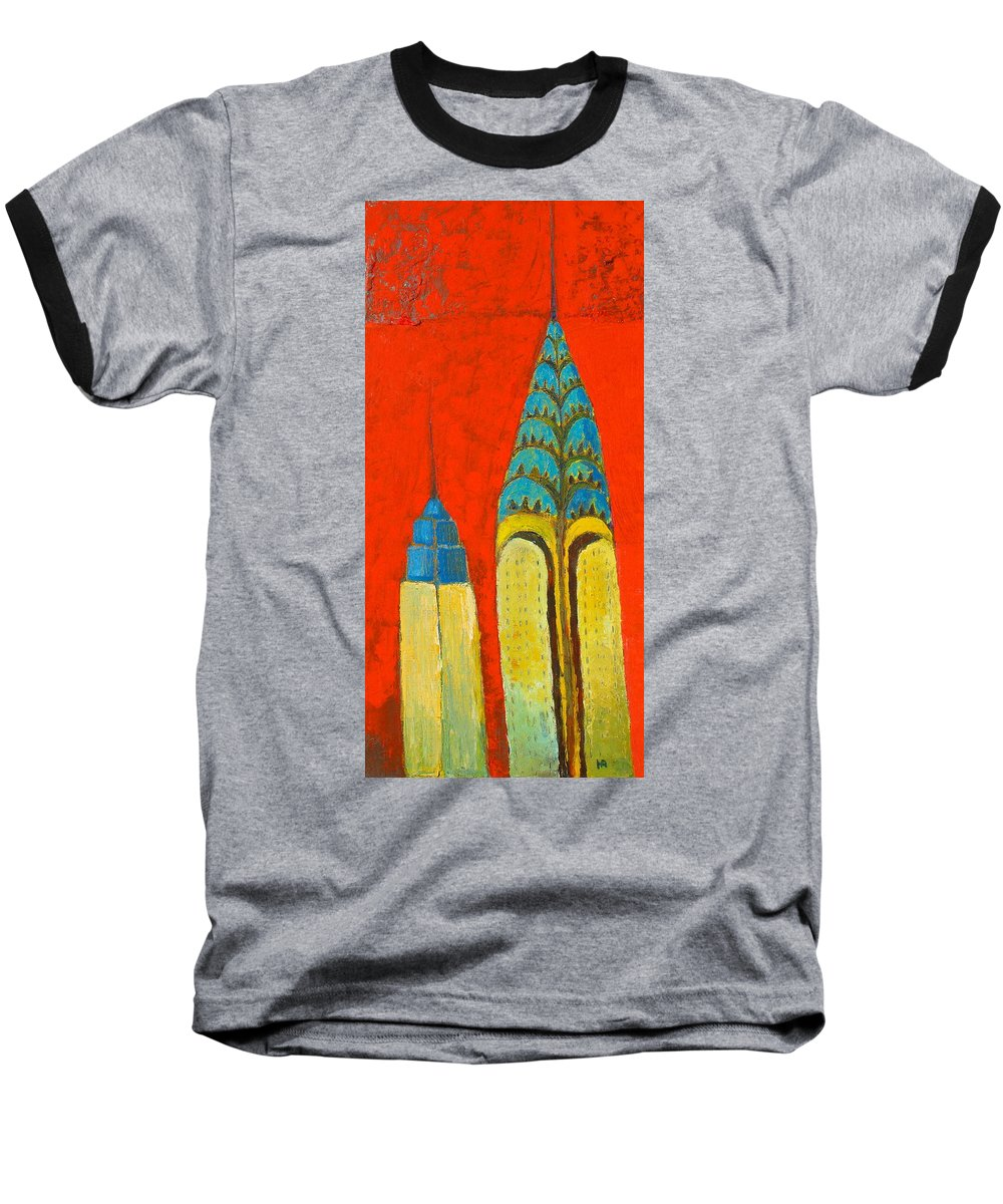 Baseball T-Shirt featuring the painting The Chrysler And The Empire State by Habib Ayat