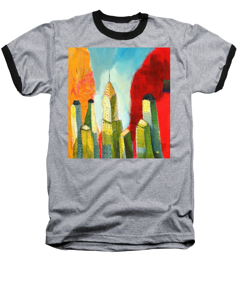 Abstract Cityscape Baseball T-Shirt featuring the painting The Chrysler In Colors by Habib Ayat