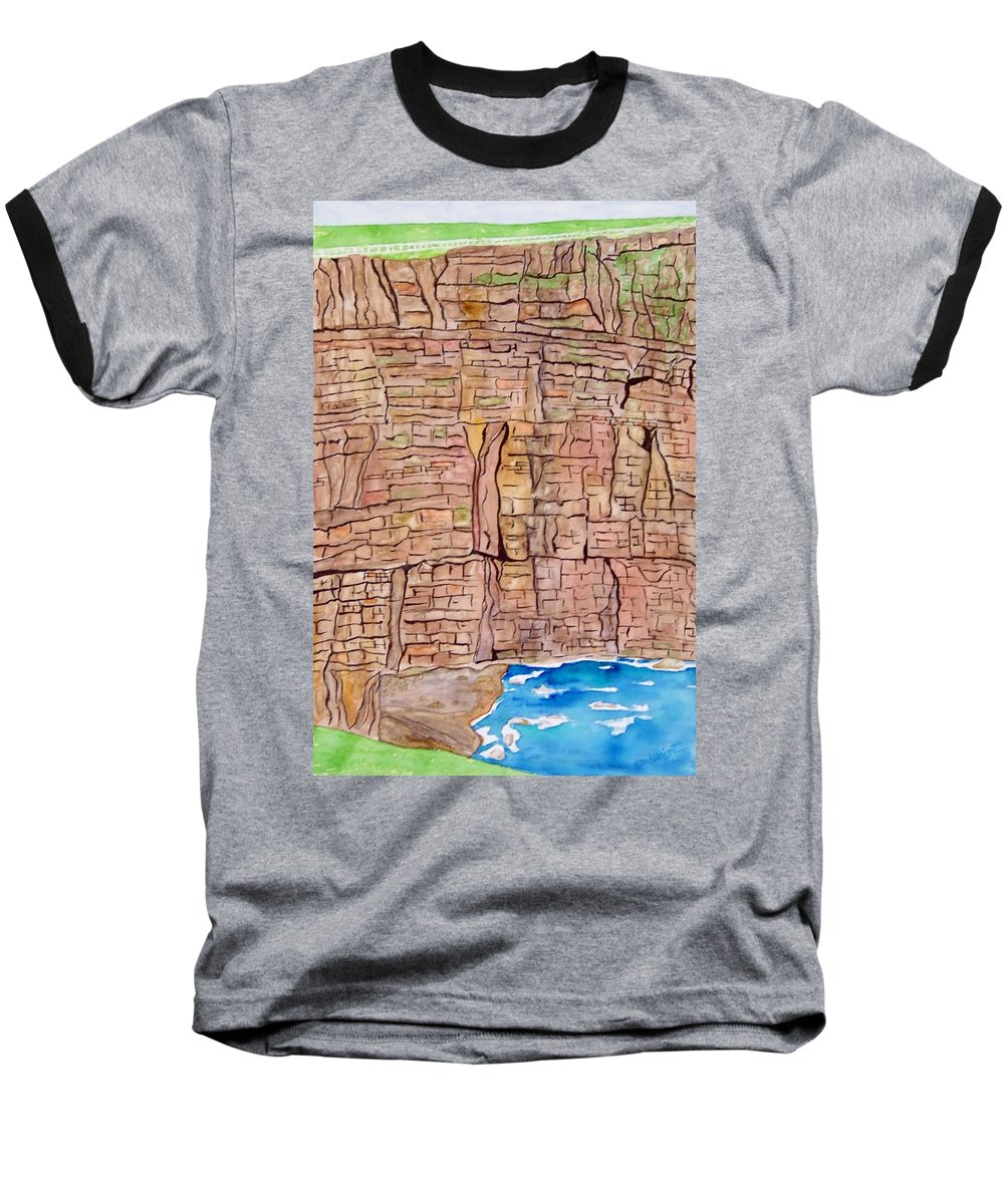 Ireland Art Baseball T-Shirt featuring the painting The Cliffs Of Mohr In Ireland by Larry Wright