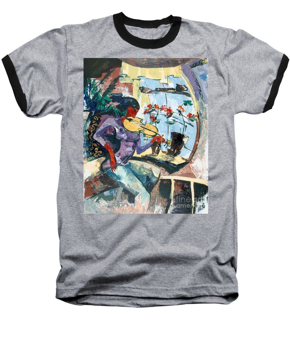 Music Baseball T-Shirt featuring the painting The Color Of Music by Elisabeta Hermann