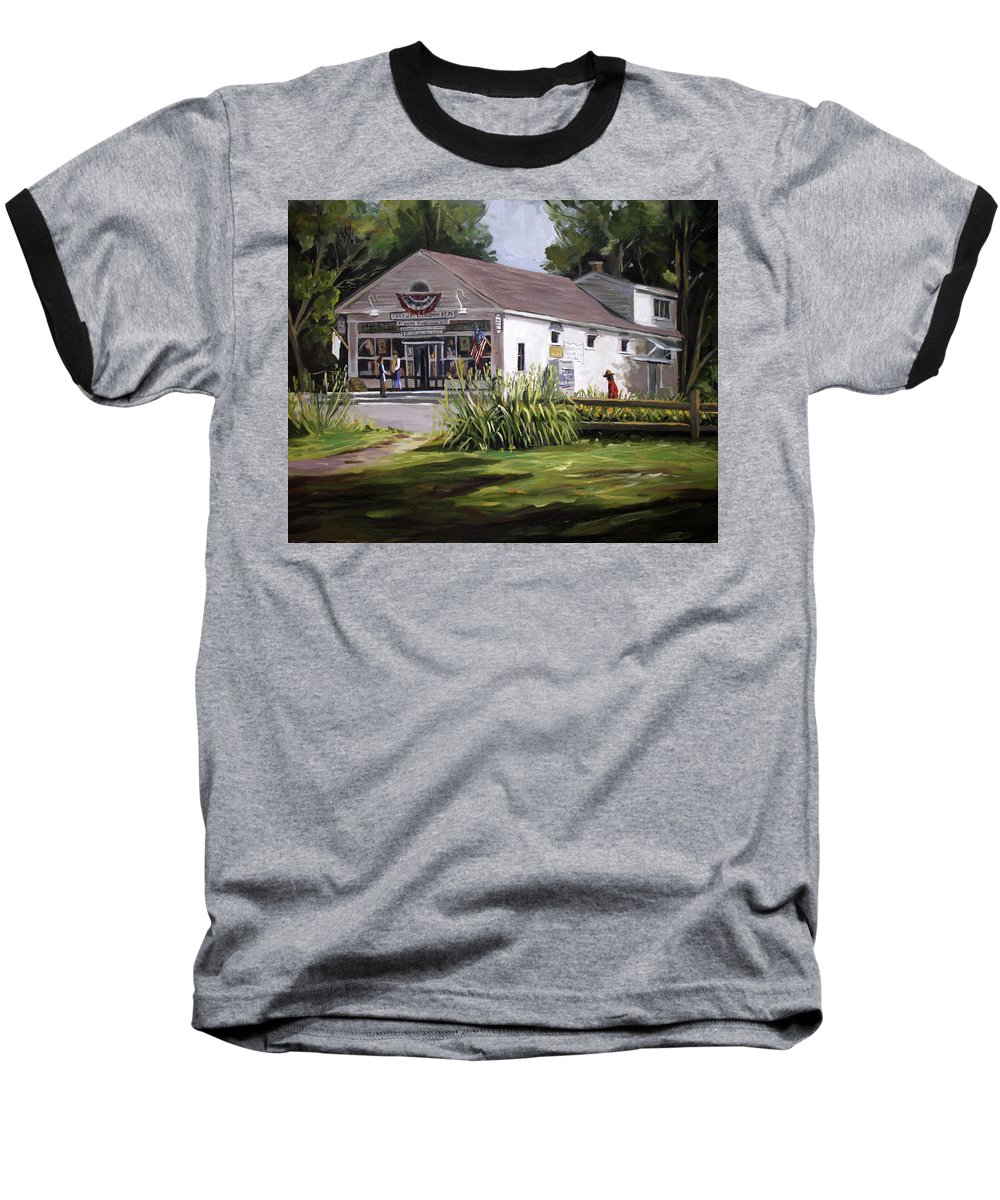 Buildings Baseball T-Shirt featuring the painting The Country Store by Nancy Griswold