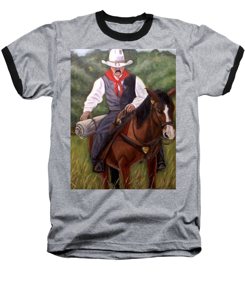 Portrait Baseball T-Shirt featuring the painting The Cowboy by Toni Berry