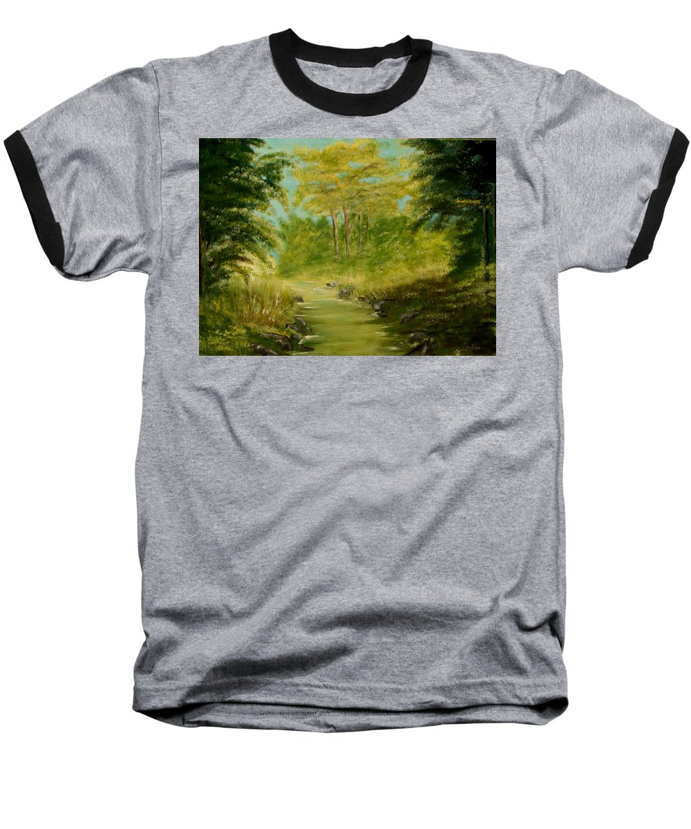 Water River Creek Nature Trees Landscape Baseball T-Shirt featuring the painting The Creek by Veronica Jackson