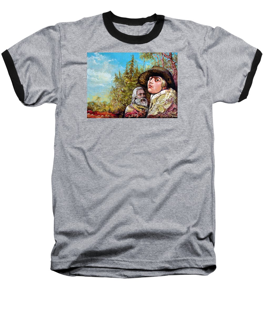 Surrealism Baseball T-Shirt featuring the painting The Dauphin And Captain Nemo Discovering Bogomils Island by Otto Rapp