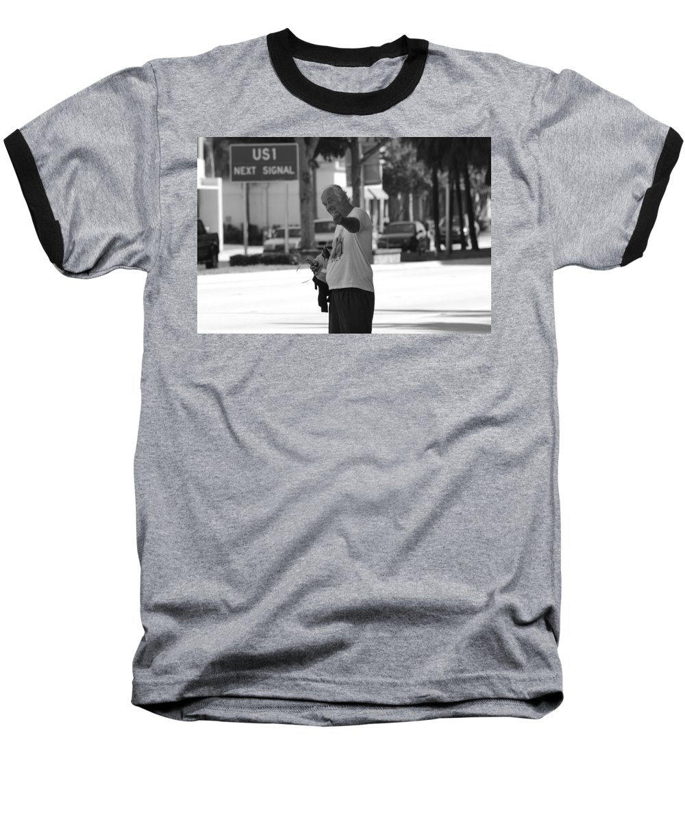 Black And White Baseball T-Shirt featuring the photograph The Devil Man by Rob Hans