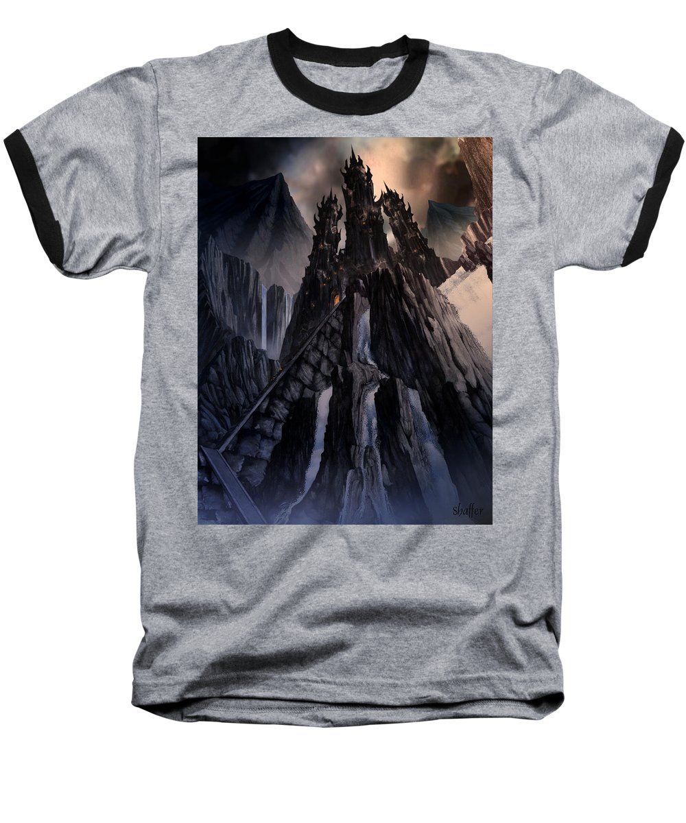 Architectural Baseball T-Shirt featuring the mixed media The Dragon Gate by Curtiss Shaffer