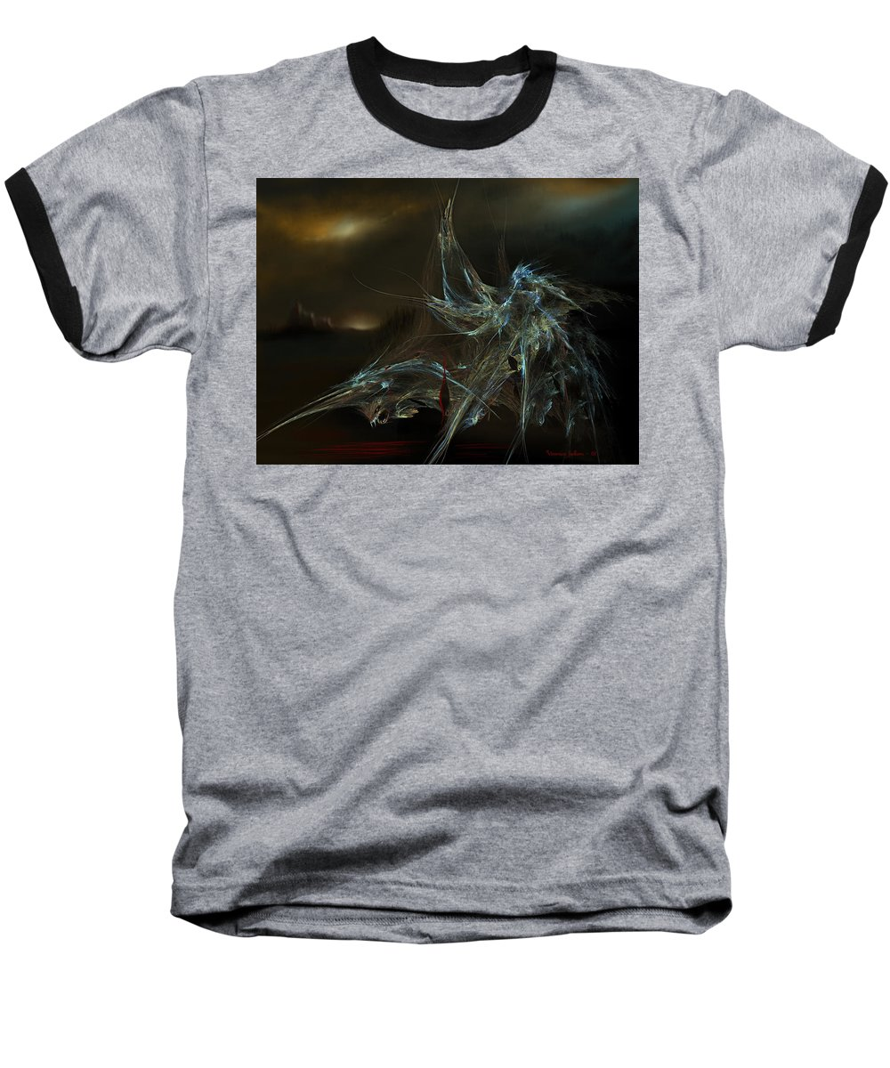 Dragon Warrior Medieval Fantasy Darkness Baseball T-Shirt featuring the digital art The Dragon Warrior by Veronica Jackson