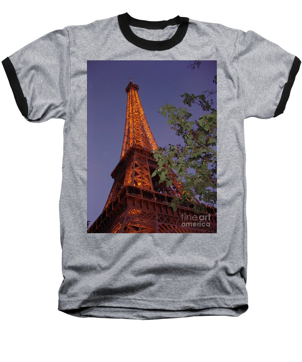 Tower Baseball T-Shirt featuring the photograph The Eiffel Tower Aglow by Nadine Rippelmeyer