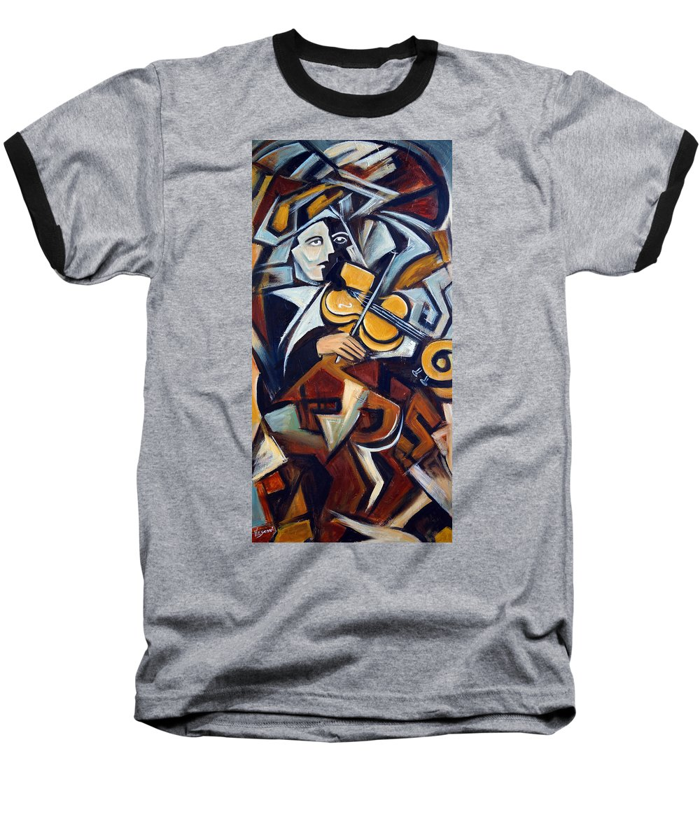 Musician Baseball T-Shirt featuring the painting The Fiddler by Valerie Vescovi