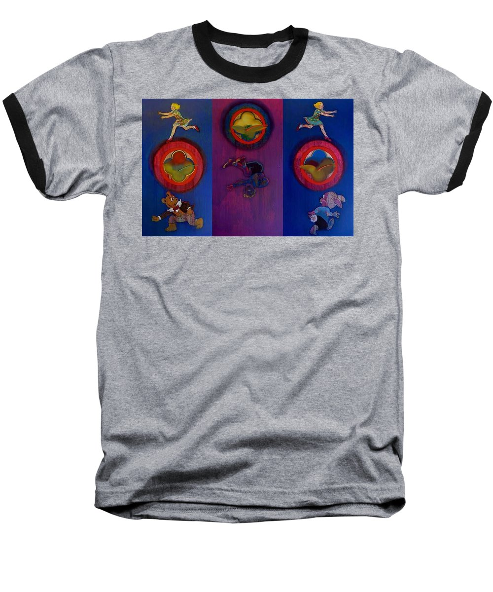 The Drums Of The Fruit Machine Stop At Random. Triptych Baseball T-Shirt featuring the painting The Fruit Machine Stops II by Charles Stuart