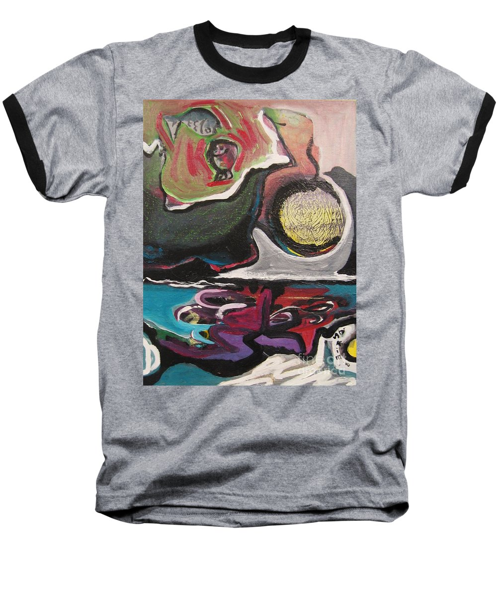 Abstract Paintings Baseball T-Shirt featuring the painting The Full Moon2 by Seon-Jeong Kim