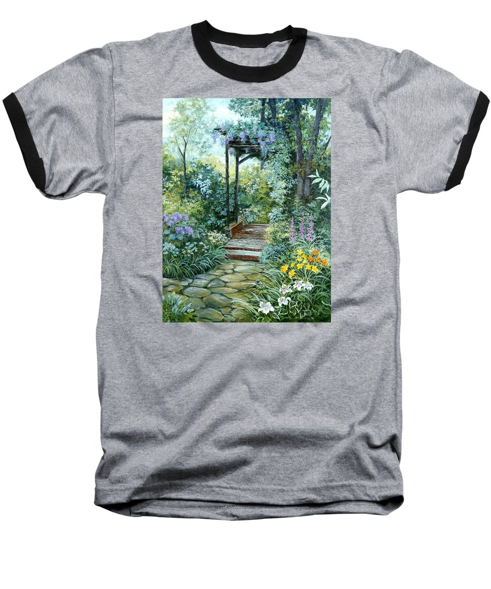 Oil Painting;wisteria;garden Path;lilies;garden;flowers;trellis;trees;stones;pergola;vines; Baseball T-Shirt featuring the painting The Garden Triptych Right Side by Lois Mountz