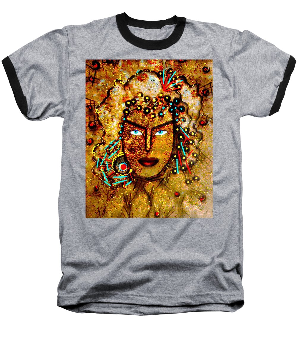 Goddess Baseball T-Shirt featuring the painting The Golden Goddess by Natalie Holland
