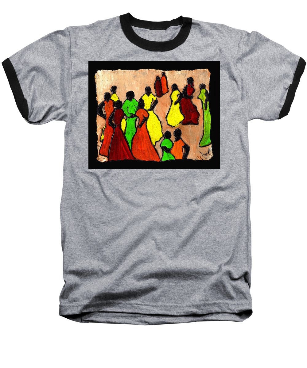 Women Baseball T-Shirt featuring the painting The Gossips by Wayne Potrafka