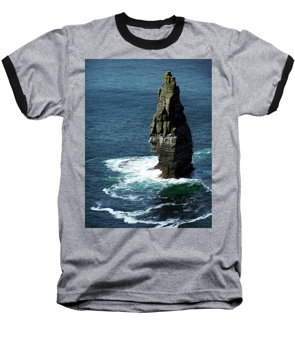 Irish Baseball T-Shirt featuring the photograph The Great Sea Stack Brananmore Cliffs Of Moher Ireland by Teresa Mucha
