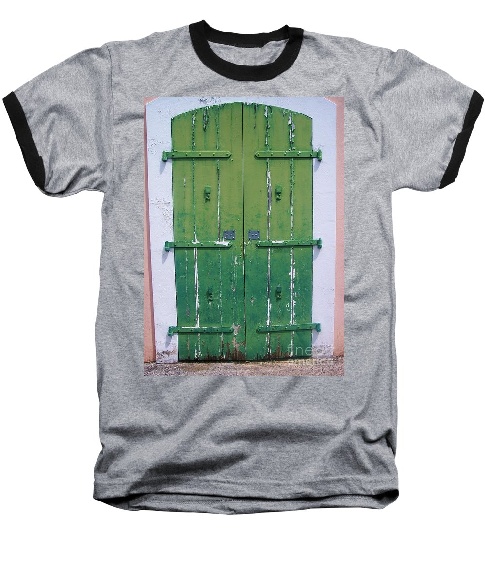 Architecture Baseball T-Shirt featuring the photograph The Green Door by Debbi Granruth
