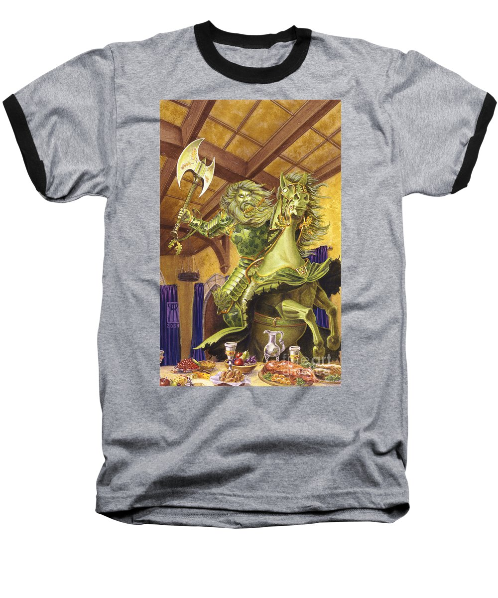 Fine Art Baseball T-Shirt featuring the painting The Green Knight by Melissa A Benson