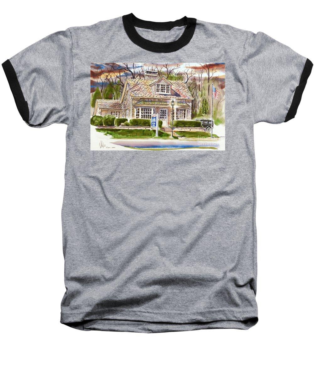 The Greystone Inn In Brigadoon Baseball T-Shirt featuring the painting The Greystone Inn In Brigadoon by Kip DeVore