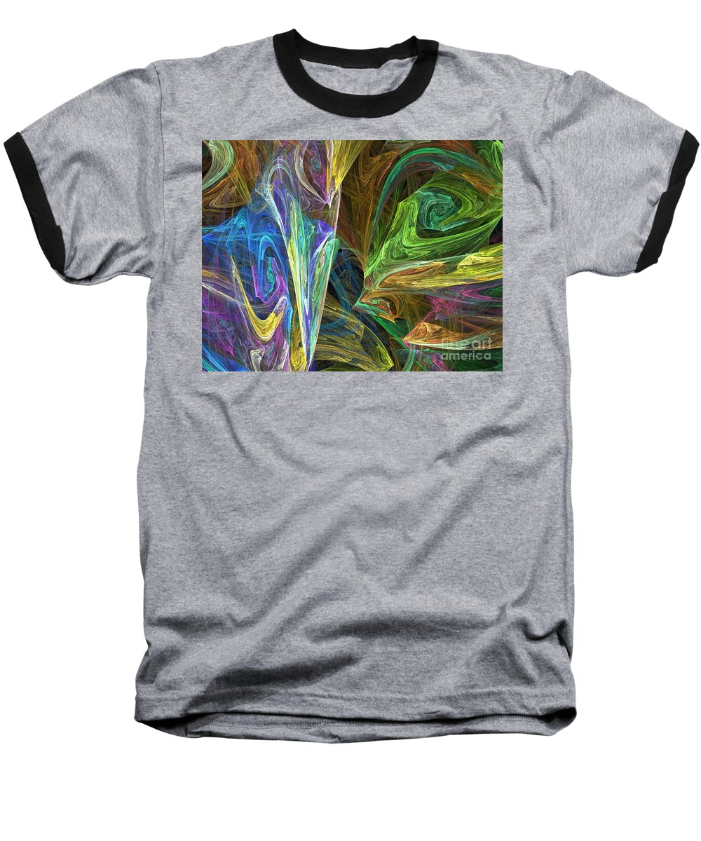 Fractals Baseball T-Shirt featuring the digital art The Groove by Richard Rizzo