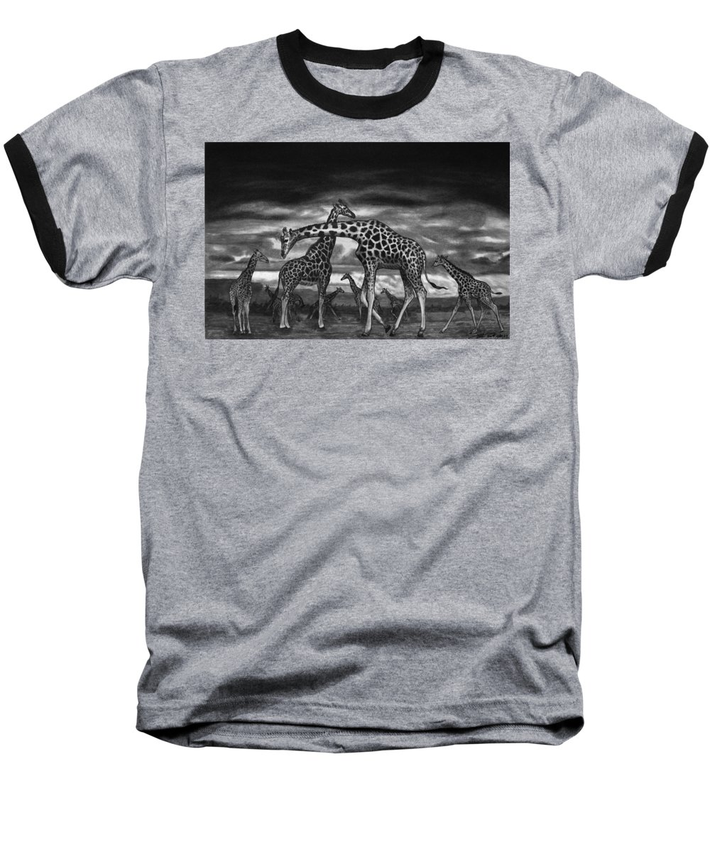 The Herd Baseball T-Shirt featuring the drawing The Herd by Peter Piatt