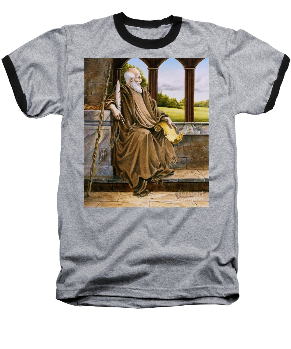 Wise Man Baseball T-Shirt featuring the painting The Hermit Nascien by Melissa A Benson