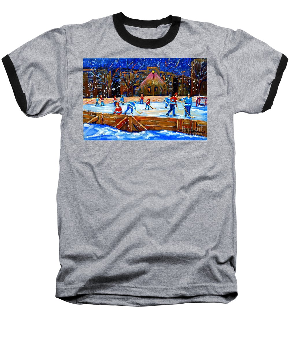 Snow Baseball T-Shirt featuring the painting The Hockey Rink by Carole Spandau