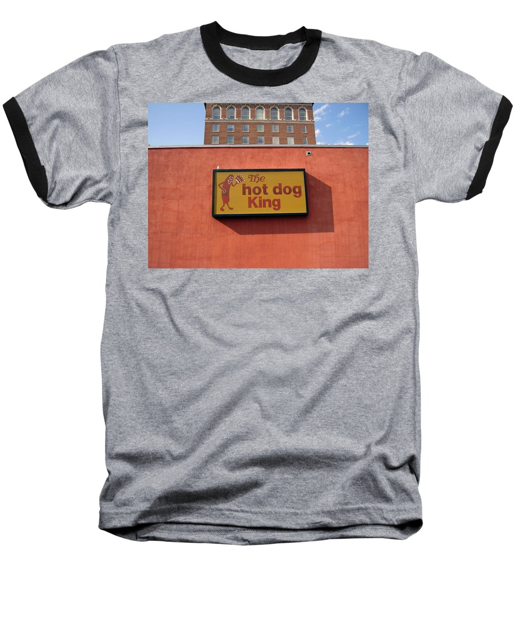 Hot Dog King Baseball T-Shirt featuring the photograph The Hot Dog King by Flavia Westerwelle