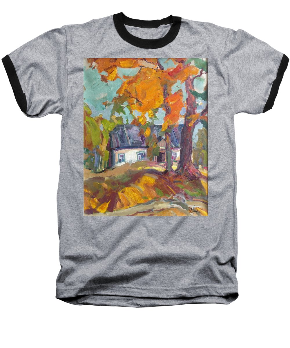Oil Baseball T-Shirt featuring the painting The House In Chervonka Village by Sergey Ignatenko