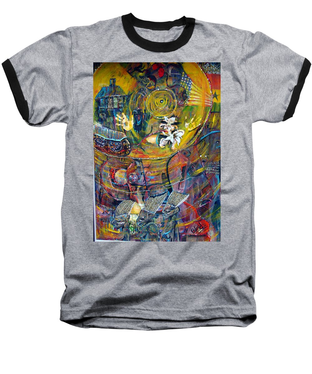 Figures Baseball T-Shirt featuring the painting The Journey by Peggy Blood