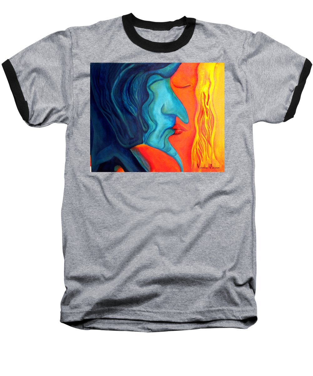 Kiss Love Passion Couple Intensity Blue Orange Fire Lust Sex Baseball T-Shirt featuring the painting The Kiss by Veronica Jackson