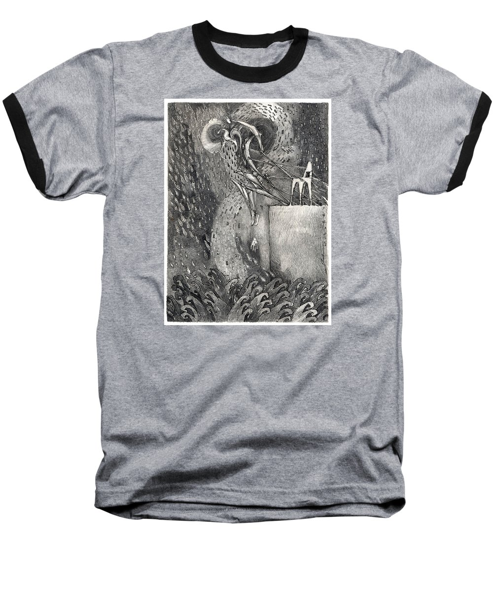 Leap Baseball T-Shirt featuring the drawing The Leap by Juel Grant