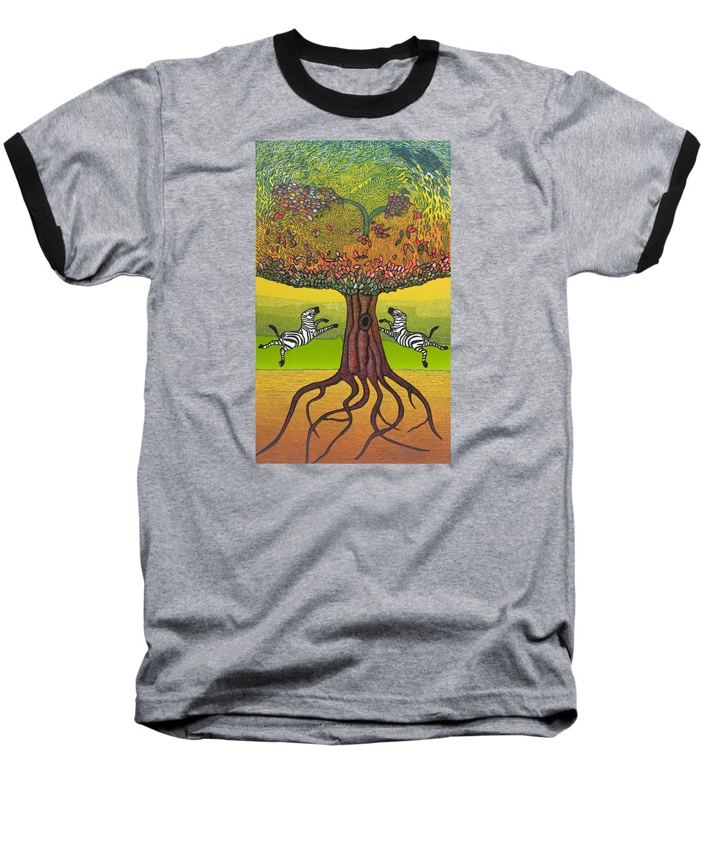 Landscape Baseball T-Shirt featuring the mixed media The Life-giving Tree. by Jarle Rosseland